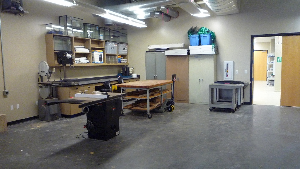 workshop with table saw and workbench
