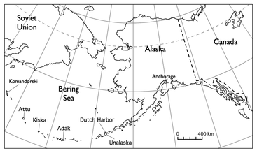 Map of Aleutian Islands, Alaska.