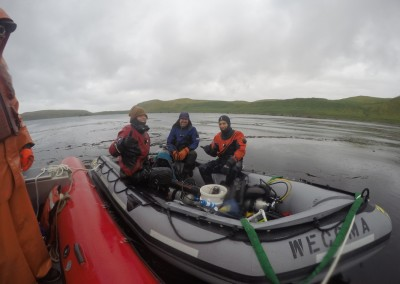 Matt Edwards, Pike Spector and Tristin McHugh on an inflatable boat wearing dry suits